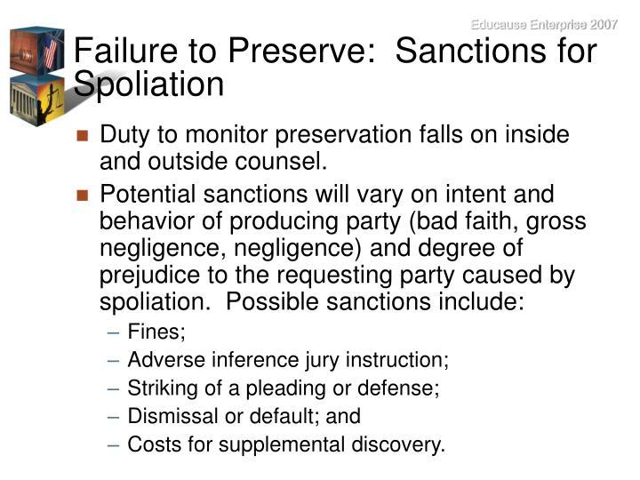 Failure to Preserve:  Sanctions for Spoliation