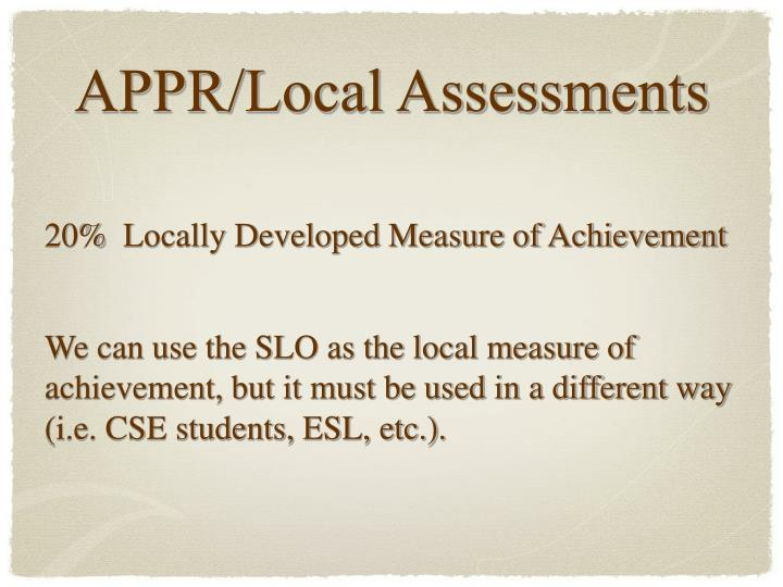 20%  Locally Developed Measure of Achievement