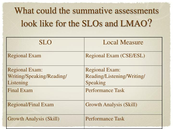 What could the summative assessments look like for the SLOs and LMAO