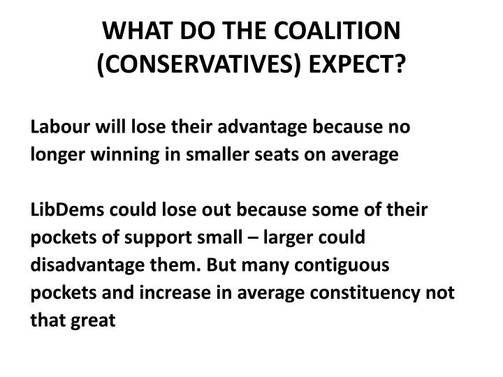 WHAT DO THE COALITION (CONSERVATIVES) EXPECT?