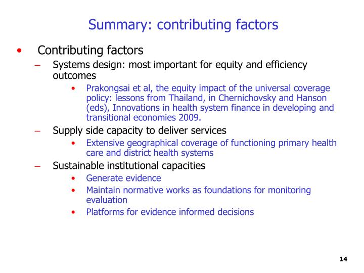 Summary: contributing factors