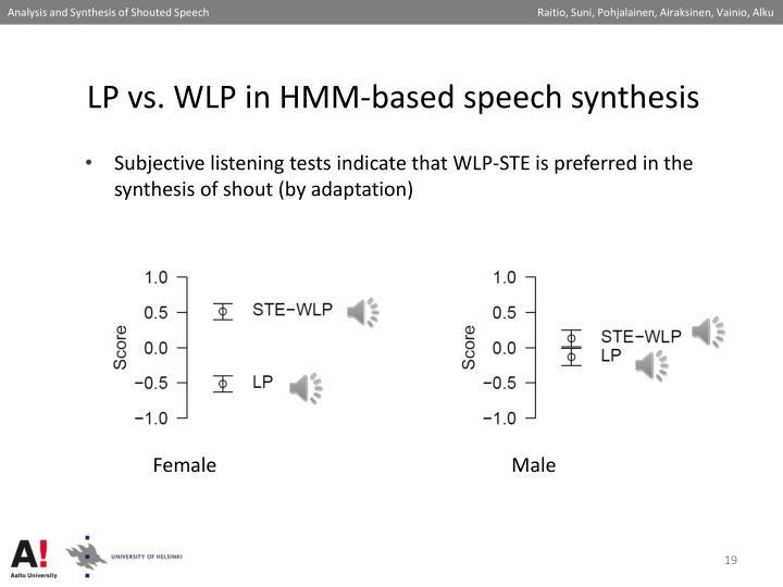 LP vs. WLP in HMM-based speech synthesis