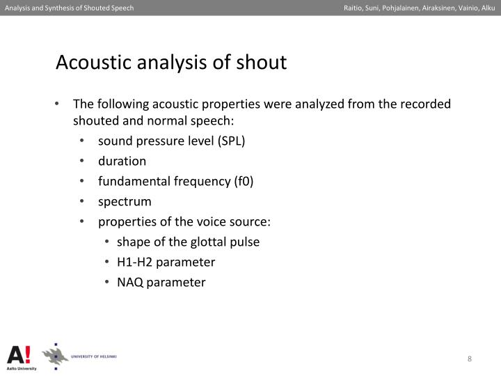 Acoustic analysis of shout