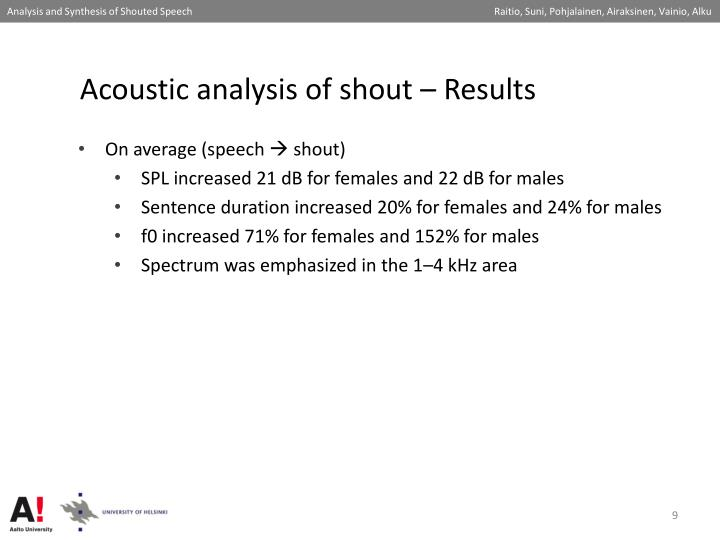 Acoustic analysis of shout – Results