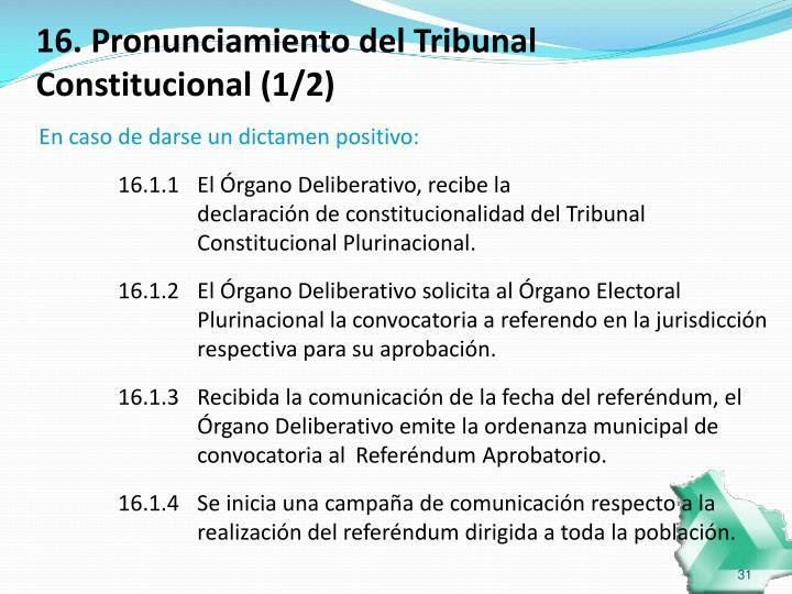 16. Pronunciamiento del Tribunal Constitucional (1/2)