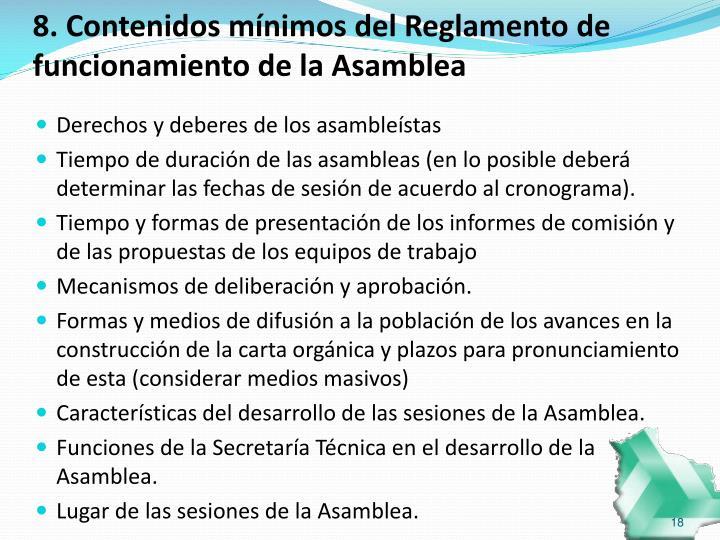 8. Contenidos mínimos del Reglamento de funcionamiento de la Asamblea