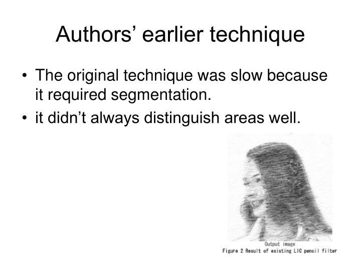 Authors earlier technique1