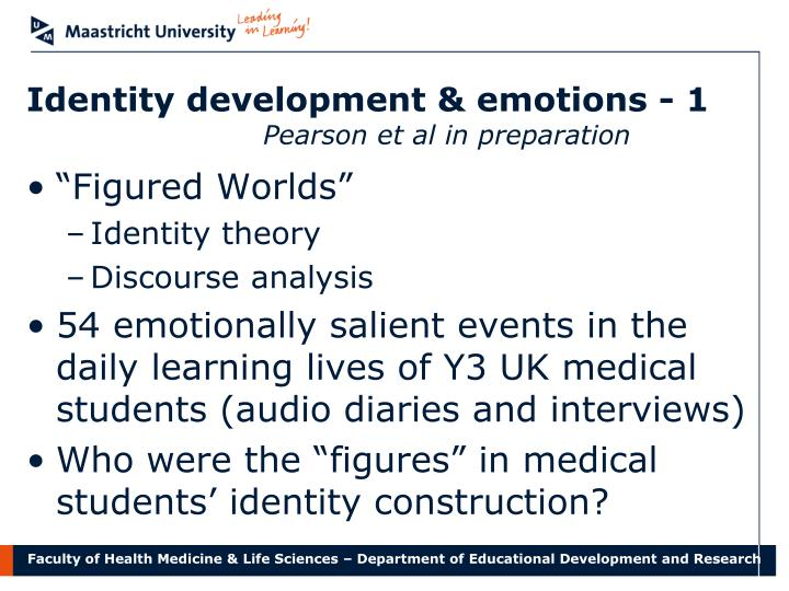 Identity development & emotions - 1