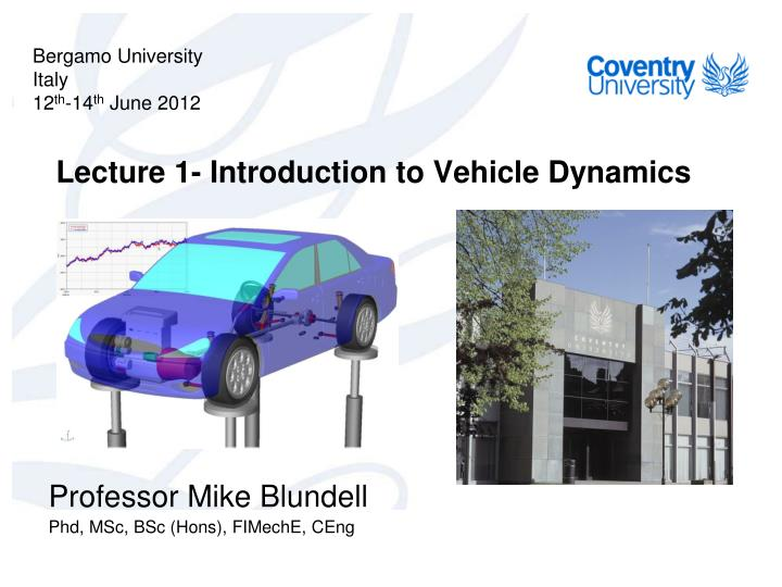 lecture 1 introduction to vehicle dynamics n.