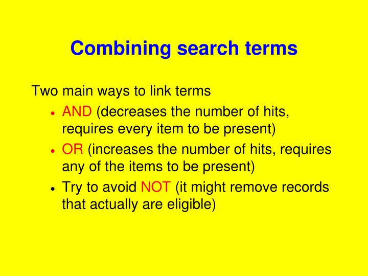 Combining search terms