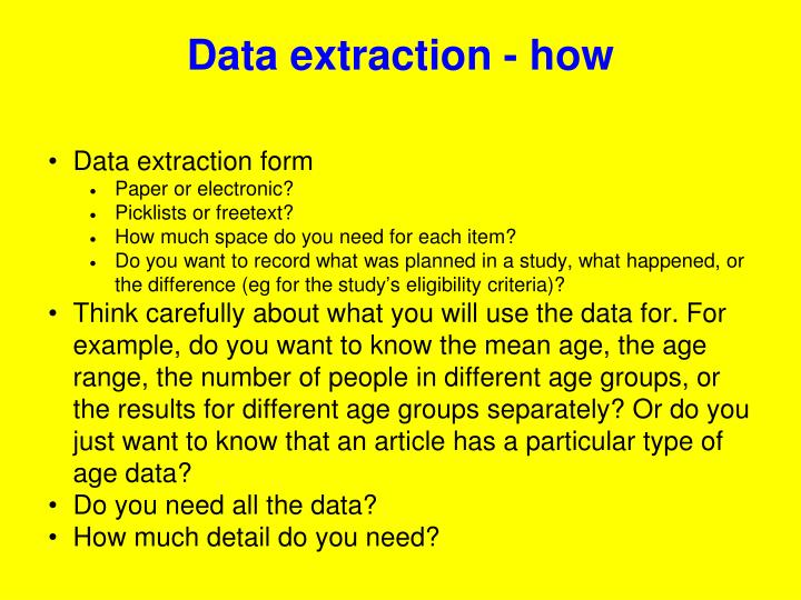 Data extraction - how