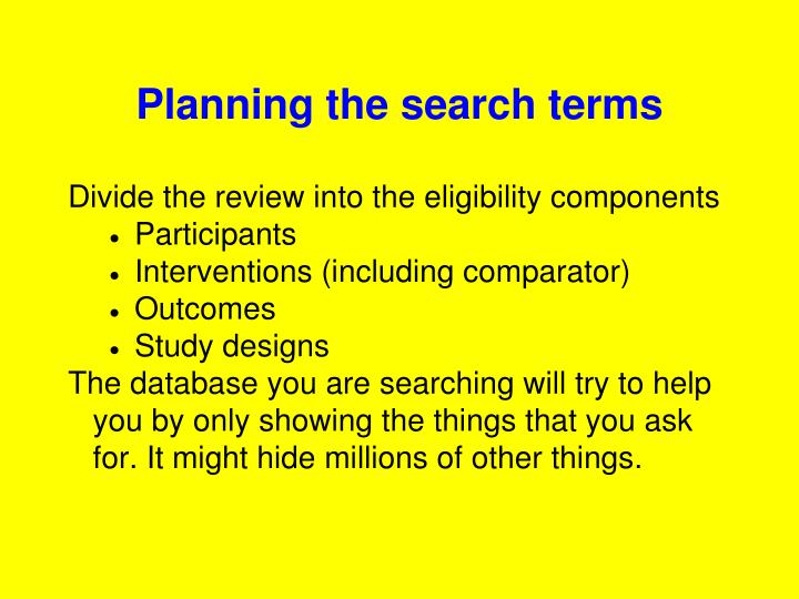 Planning the search terms