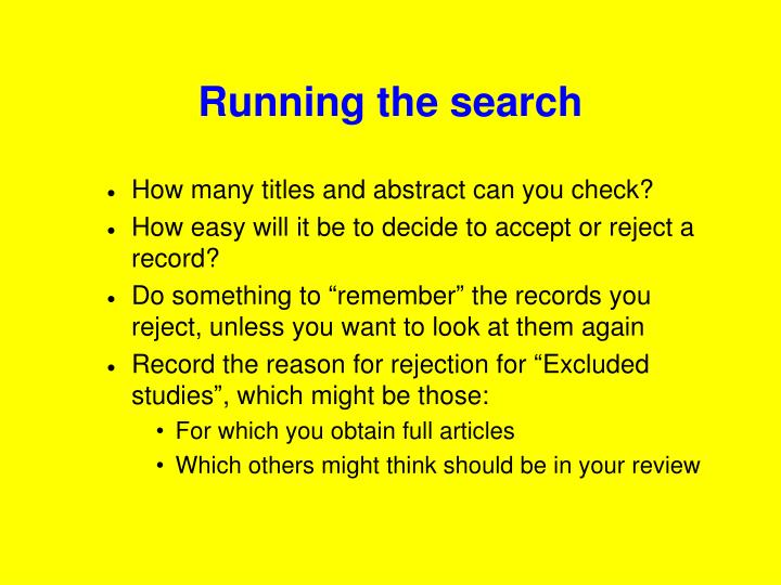 Running the search