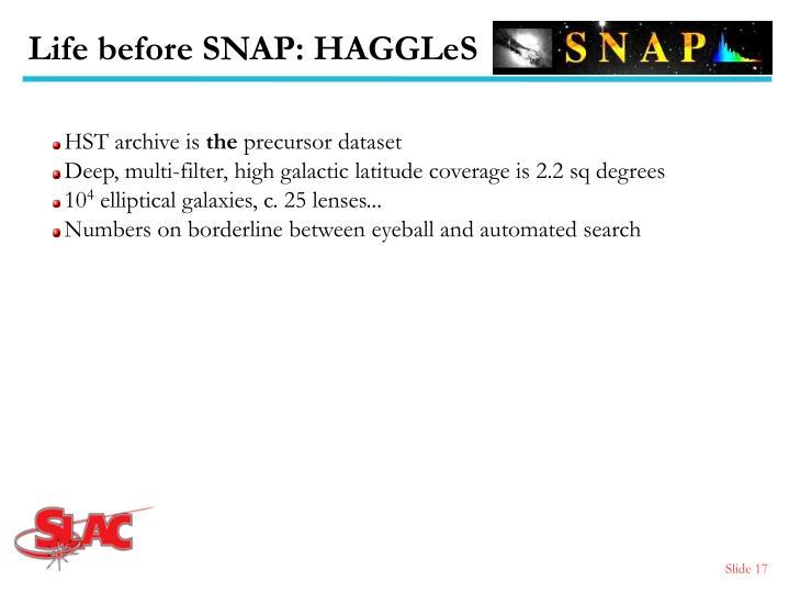 Life before SNAP: HAGGLeS