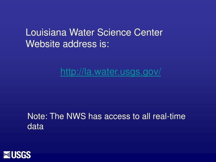 Louisiana Water Science Center Website address is: