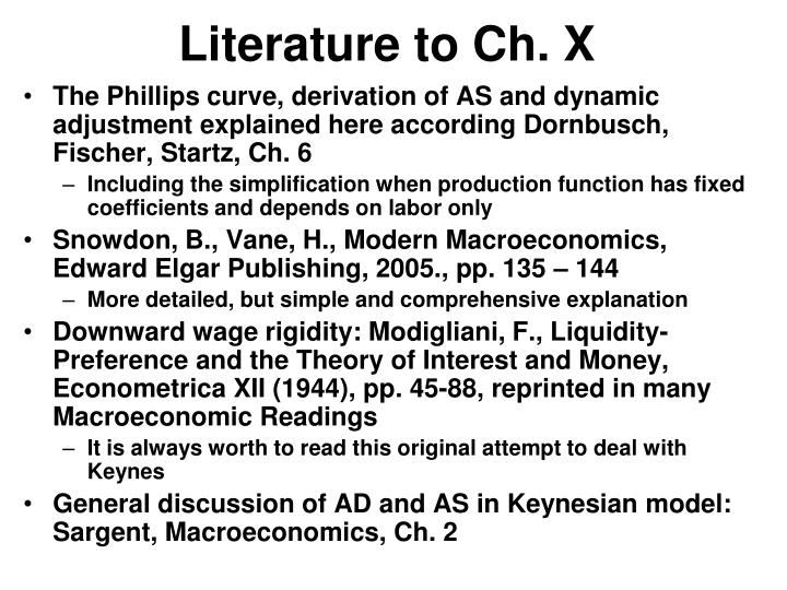 Literature to Ch. X