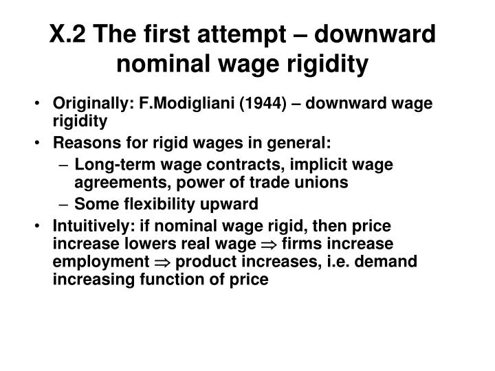 X.2 The first attempt – downward nominal wage rigidity