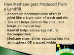 how methane gets produced from a landfill