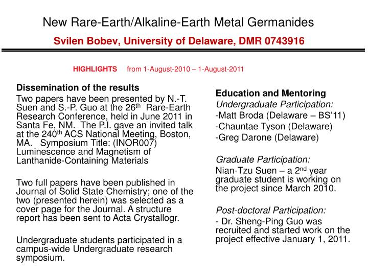 New Rare-Earth/Alkaline-Earth Metal Germanides