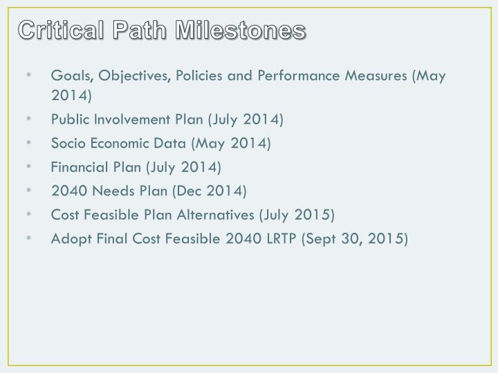 Critical Path Milestones