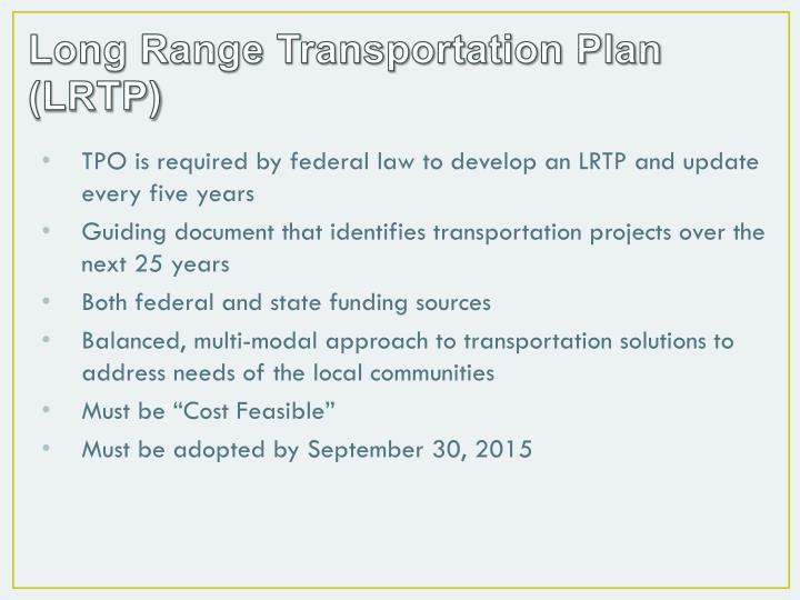 Long Range Transportation Plan (LRTP)