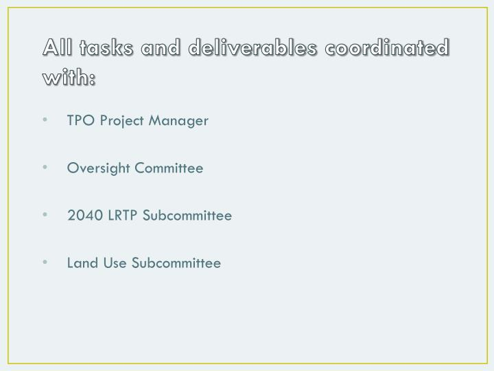 All tasks and deliverables coordinated with: