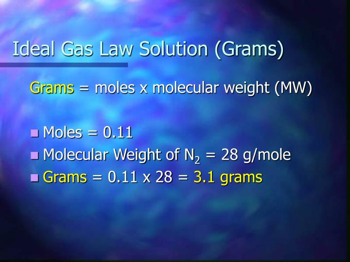 Ideal Gas Law Solution (Grams)