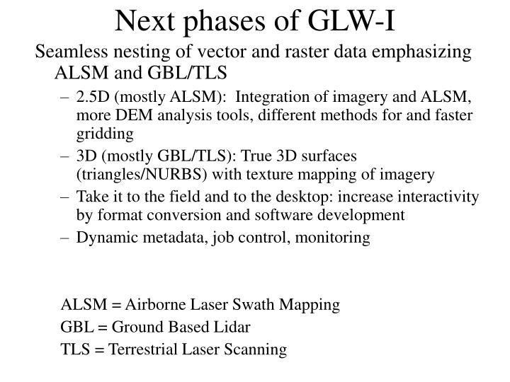 Next phases of GLW-I