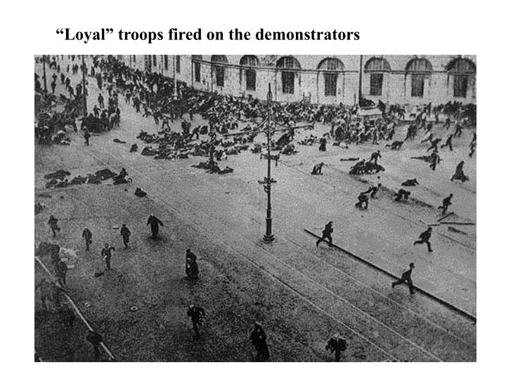 """Loyal"" troops fired on the demonstrators"