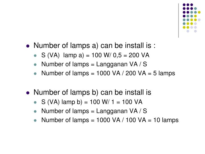 Number of lamps a) can be install is :