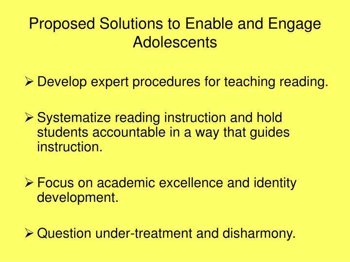 Proposed Solutions to Enable and Engage Adolescents