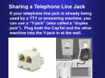 sharing a telephone line jack