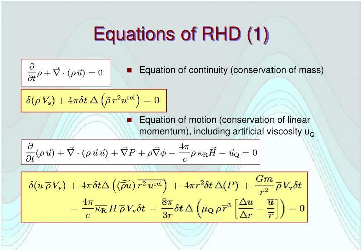 Equations of RHD (1)
