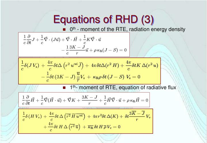 Equations of RHD (3)