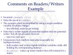 comments on readers writers example