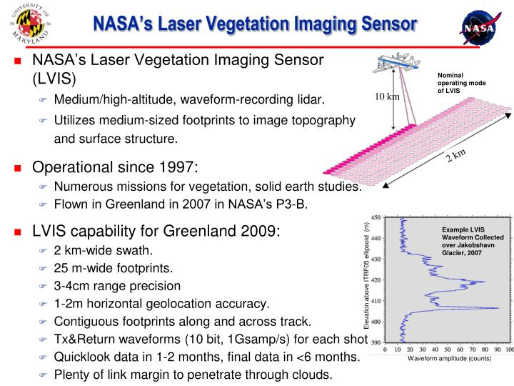 Nasa s laser vegetation imaging sensor