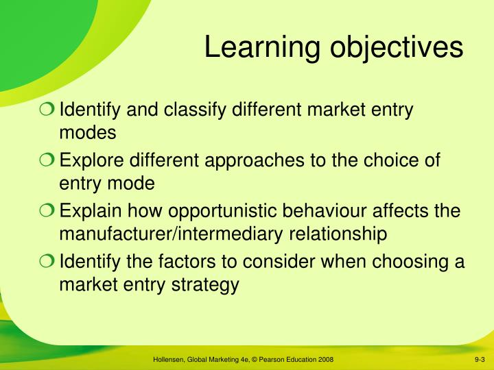 factors that influence the choice of entry modes 225 the factors that influence entry mode choice 19 23 review of market entry modes choice framework as guiding tools in analyzing the research.