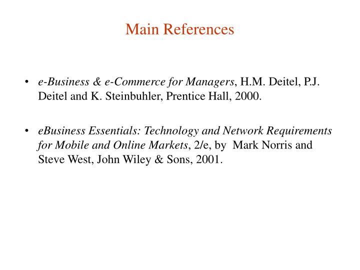 Main References
