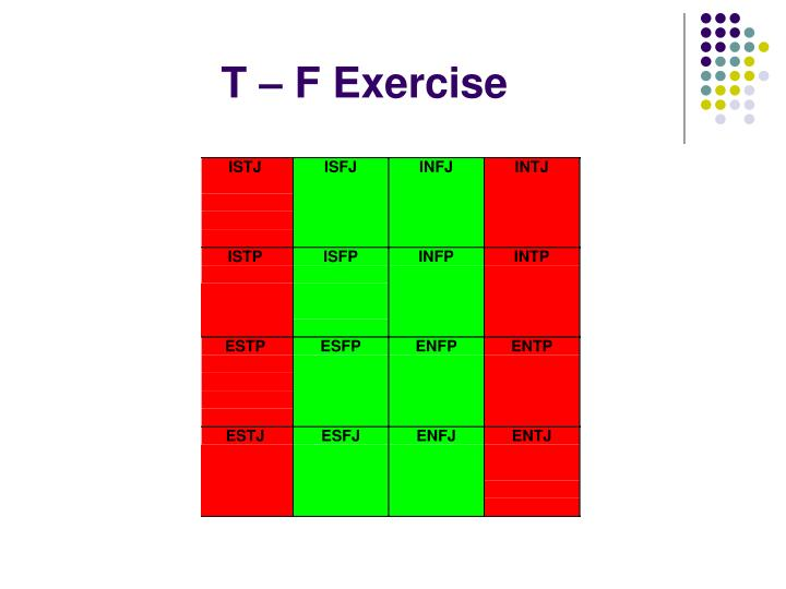 T – F Exercise