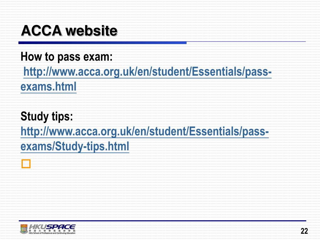 PPT - Strategic Approach in Tackling ACCA Examinations PowerPoint