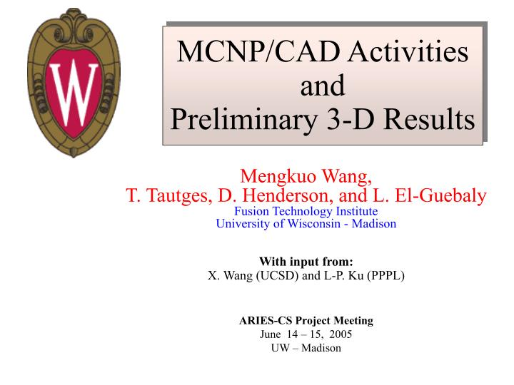 Mcnp cad activities and preliminary 3 d results