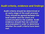audit criteria evidence and findings