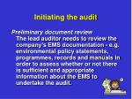 initiating the audit3