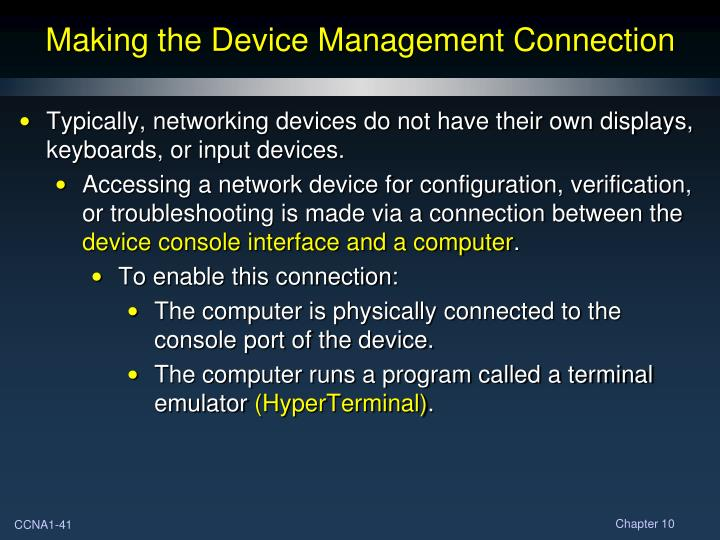 Making the Device Management Connection