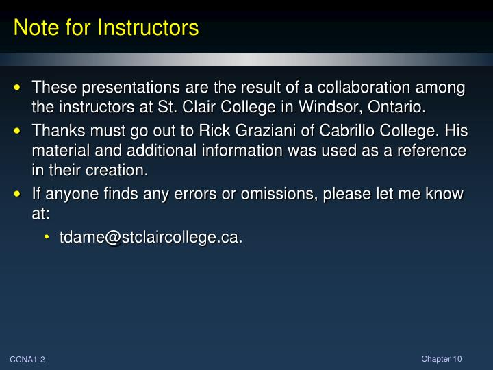 Note for instructors
