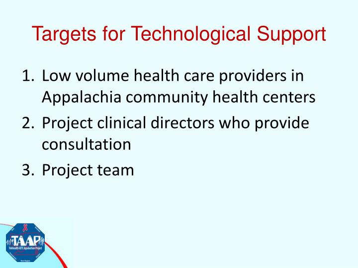 Targets for Technological Support