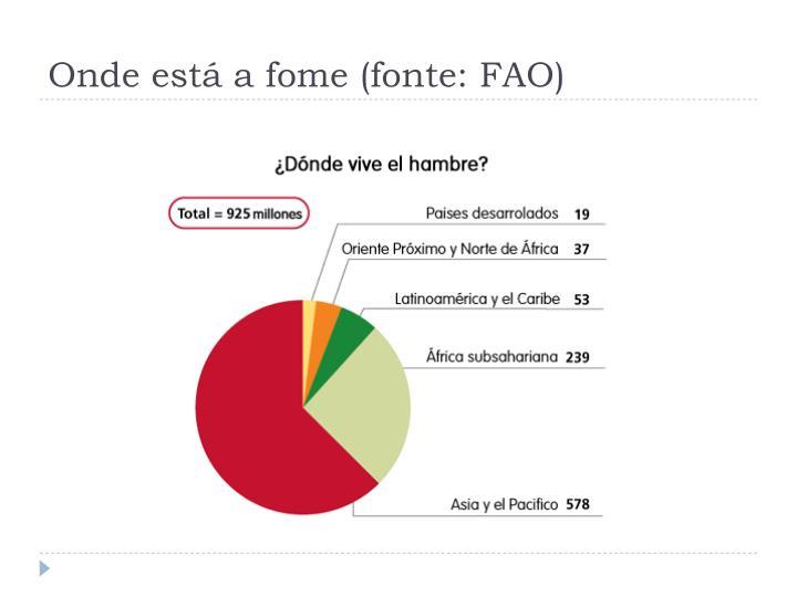 Onde está a fome (fonte: FAO)