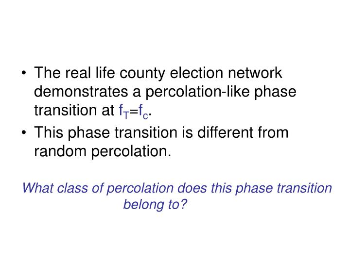 The real life county election network demonstrates a percolation-like phase transition at