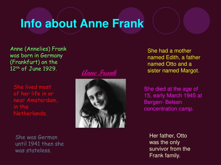 Info about anne frank