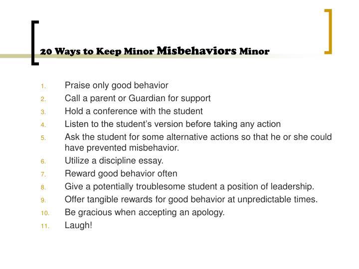 20 Ways to Keep Minor